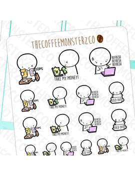 online-shopping-emotis---hand-drawn-emoti-planner-stickers-e143 by etsy