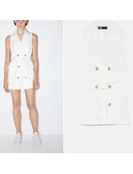 zara-white-buttoned-vest-waistcoat-dress-with-belt   nwt by zara