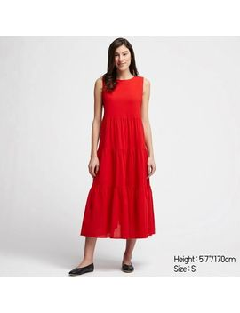 women-tiered-sleeveless-long-dress by uniqlo