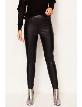 Black Leather Look Legging by Sosandar