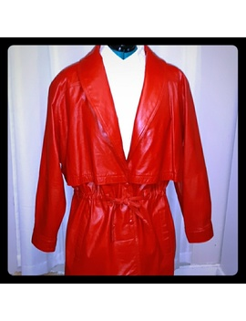 vintage-like-new-red-leather-coat-size-large by wilsons-leather