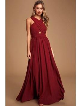 divine-inspiration-burgundy-halter-maxi-dress by lulus