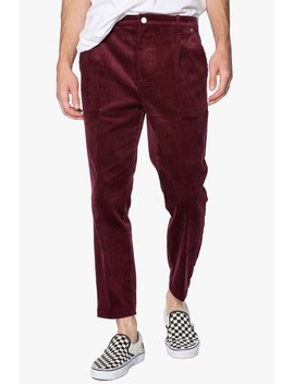 burgundy-corduroy-pleated-cropped-trouser by elwood-clothing
