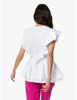 Ruffled Cotton T Shirt by Alexander Mc Queen