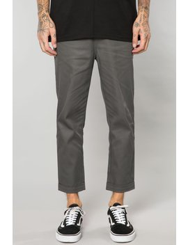 Dark Grey Stretch Twill Pleated Cropped Trouser by Elwood Clothing