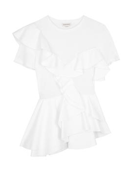 white-ruffled-cotton-t-shirt by alexander-mcqueen