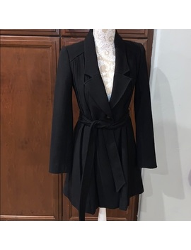 bcbgeneration-black-lined-belted-trench-coat-xs by bcbgeneration