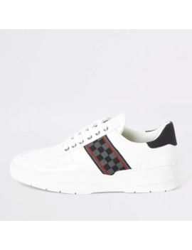 white-check-tape-chunky-runner-trainers by river-island