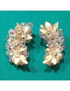 clipon-crystal-glass-aurora-borealis-leaf-earrings by poshmark