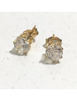 14k-gold-stud-earrings-cz-diamonds-09-grams by poshmark