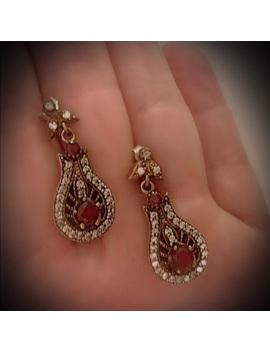 ruby-raindrop-solid-sterling-silver-earrings-925 by vintage