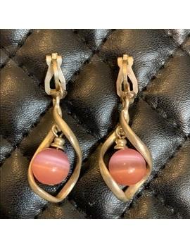 vintage-sterling-silver-crystal-pink-clip-earrings by vintage