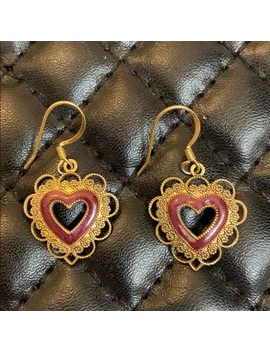 vintage-gold-plated-filagree-heart-earrings by vintage