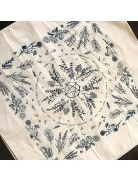 witchy-herbs-and-spices---practical-magic---pentacle---botanical-illustrations-screen-printed- -100%-cotton-scarf-_-bandana by etsy