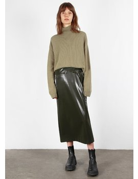 Olive Gloss Midi Skirt by The Frankie Shop