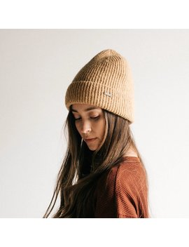Ava   Camel Knit Beanie With Fur Liner by Gigi Pip