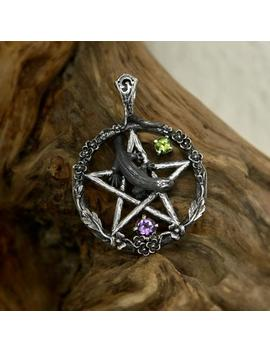 """witch-jewelry-pentagram-pendant-925-sterling-silver-with-amethyst-and-chrysolite-""""pente-magna""""-made-to-order,-lizard-pendant by etsy"""
