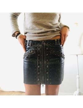 pam-&-gela-leather-studded-mini-skirt by pam-&-gela