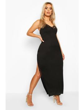 plus-lace-detail-thigh-split-maxi-dress by boohoo