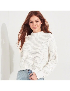 white-mock-neck-chenille-sweater by hollister