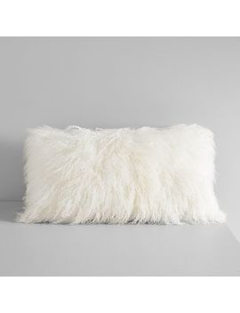 "Mongolian Lamb Lumbar Pillow Cover, 12""X21"", Stone White by West Elm"