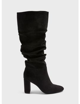 oxford-black-ruched-knee-high-boots by miss-selfridge