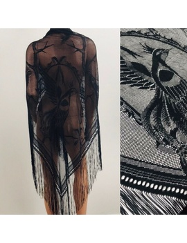 vintage-fringe-lace-black-peacock-piano-shawl-wrap by vintage