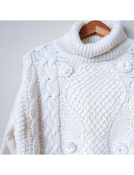 vintage-90s-chunky-knit-cable-sweater-pullover-m by vintage