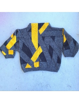 vintage-black-yellow-gray-80s-style-sweater! by vintage