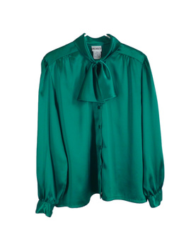 emerald-green-satin-bow-blouse-vintage-1980s-shirt by vintage