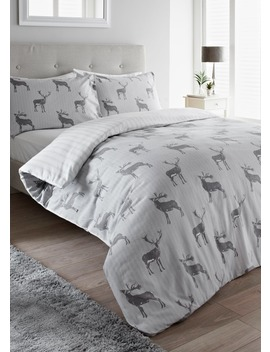 100% Brushed Cotton Stag Duvet Cover by Matalan