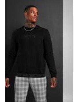 Man Roman Sweatshirt With Tape Hem by Boohoo Man
