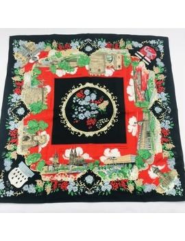 vintage-german-castles-souvenir-square-scarf-black by vintage