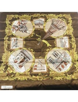 vintage-paris-france-square-scarf-brown-castle by vintage