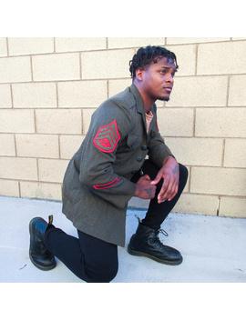 vintage-military-jacket-green-blazer-field-coat by vintage
