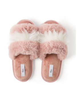 Fluffy Stripe Fur Slippers by Bouxavenue