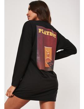 playboy-x-missguided-black-magazine-print-long-sleeve-t-shirt-dress by missguided