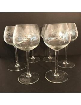 set-of-6-etched-crystal-wine-goblets-glasses by vintage