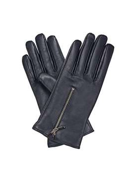 Zipped Navy Blue Leather Gloves by Olivar Bonas