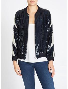 Zoe Karssen Go Bang Sequins Loose Fit Bomber Jacket   Blue by Garmentory