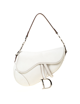 Dior White Leather Saddle Bag by The Luxury Closet