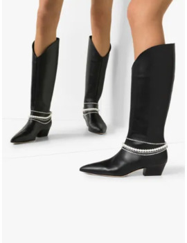 Black Mexico 40 Embellished Leather Boots by Magda Butrym
