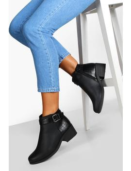 wide-fit-buckle-detail-chelsea-boots by boohoo