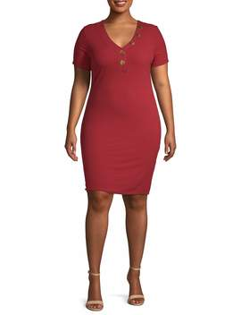 derek-heart-juniors-plus-size-ribbed-button-front-bodycon-dress by derek-heart