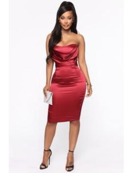 the-first-date-satin-midi-dress---wine by fashion-nova