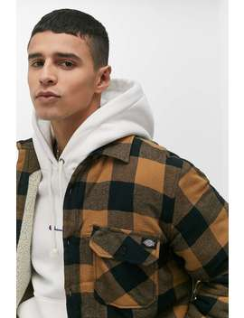 dickies-lansdale-brown-checked-shirt-jacket by dickies