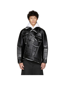 black-synthetic-leather-padded-jacket by comme-des-garçons-homme-plus