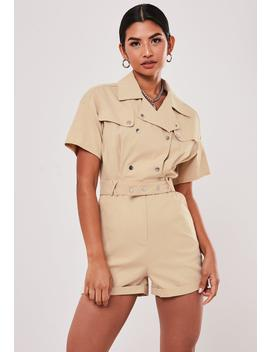 Stone Utility Short Sleeve Popper Playsuit by Missguided