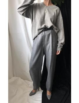 wool-|-silk-pants-for-women-size-s-|-handmade-high-waisted-pleated-trousers-|-gray-pants by etsy