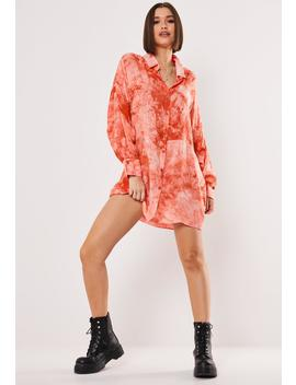 Pink Tie Dye Oversized Shirt Dress by Missguided